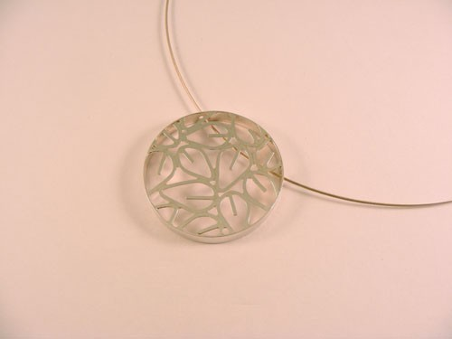 Silver Framed Circle Pendant (Single Large)