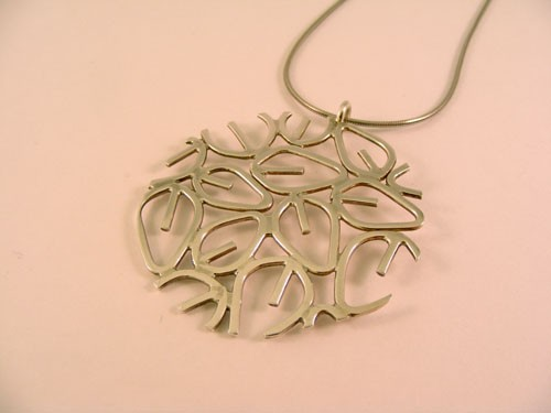 Silver Leaf-Cutter Pendant (Circle)