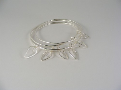 Silver Quad Bangle with Charms