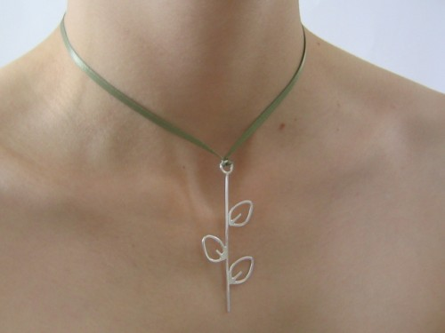 Triple Leaf Silver Pendant on Ribbon